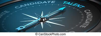 talento, concepto, -, adquisición, reclutamiento