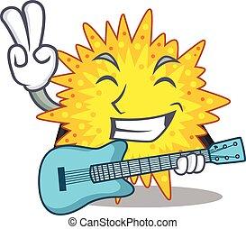 talentoso, guitarra, mycoplasma, tocando, músico, caricatura, desenho