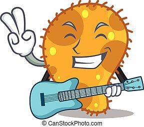 talentoso, violão jogando, músico, caricatura, pseudomonas, desenho
