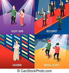 Talents And Awards Isometric Concept