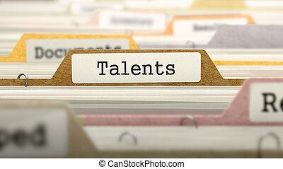 talents, label., concept, fichier