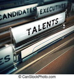 Talents Recruitment Concept - Focus on folder tab with the...
