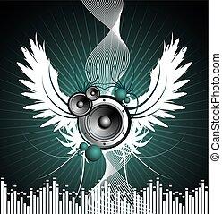 talere, illustration, musikalsk begavet, tema, vektor, vinge