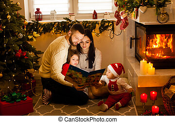 tales., famille, fée, lecture, heureux, traditions, noël