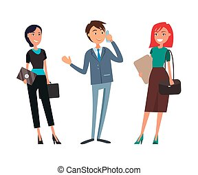 tales, smil, forretningsmand, telefon, businesswoman