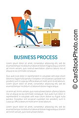tales, telefon, forretningsmand, firma, proces