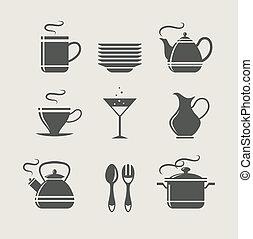 talheres, jogo, cozinha, ícones