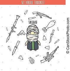 Taliban. Character of Talib group. Person handmade -...