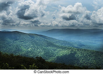 Beautiful vista of mountains, trees, clouds and sky in Eastern Oklahoma and Western Arkansas