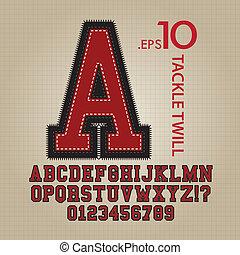 talja, alfabet, vektor, twill, numrerar