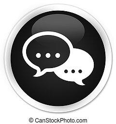 Talk bubble icon black glossy round button