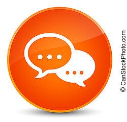 Talk bubble icon elegant orange round button
