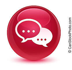 Talk bubble icon glassy pink round button