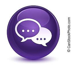 Talk bubble icon glassy purple round button