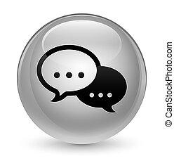 Talk bubble icon glassy white round button