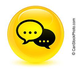 Talk bubble icon glassy yellow round button