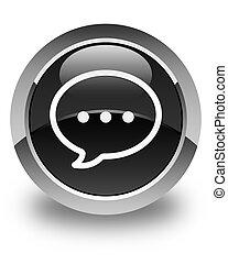 Talk bubble icon glossy black round button