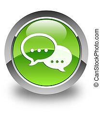 Talk bubble icon glossy green round button