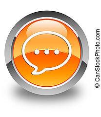 Talk bubble icon glossy orange round button 2
