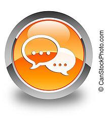 Talk bubble icon glossy orange round button