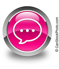Talk bubble icon glossy pink round button
