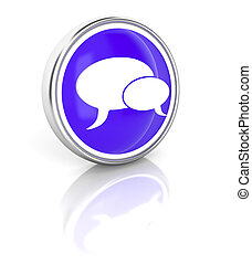 Talk bubble icon on glossy blue round button