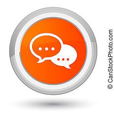 Talk bubble icon prime orange round button