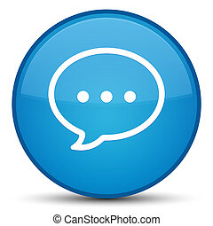 Talk bubble icon special cyan blue round button