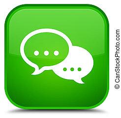 Talk bubble icon special green square button