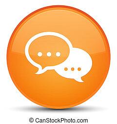 Talk bubble icon special orange round button