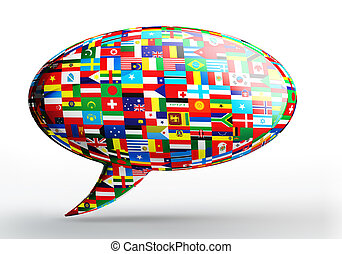 talk bubble language concept with nation flags on white...
