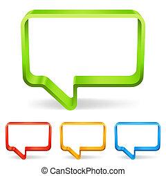 Talk bubbles. - Set of 4 color three-dimensional talk ...