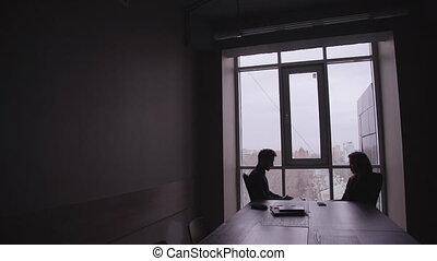 talk., bureau, deux, travail, business, jeune, entrepreneurs, bureau
