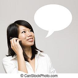Talk. - Girl having a talk dialogue.