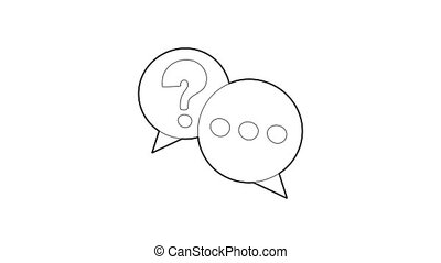 Talk icon animation best outline object on white background