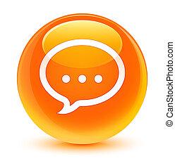 Talk icon glassy orange round button