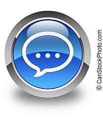 Talk icon glossy blue round button 2