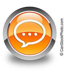 Talk icon glossy orange round button 2