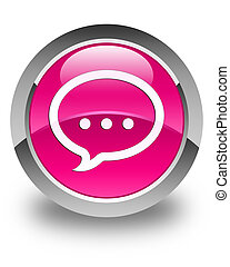 Talk icon glossy pink round button