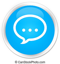 Talk icon premium cyan blue round button