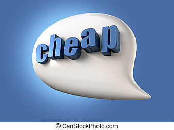 Talk Is Cheap - A white speech bubble with the extruded word...