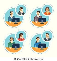talk, kunde, telefonanruf, zentrieren, stellvertreter