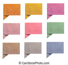 talk origami tag  paper craft stick on white background