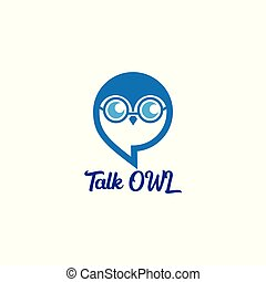 talk owl with balloon and owl illustration