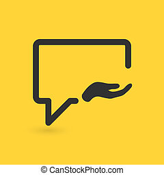 Talk Share with hand icon, chat, communication, internet. Vector illustration isolated on yellow background.