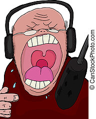 Talk Show Host - Angry talk show host screaming into a...