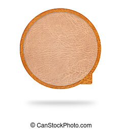 Talk tag, leather texture on white background