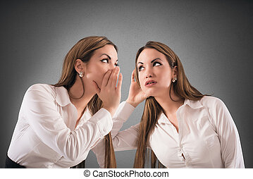 Talk to oneself - Woman speaks with a woman like her