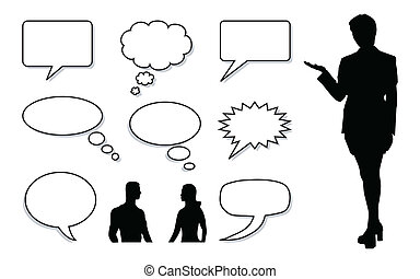 Talk - vector illustration of a Word and Thought Bubble with...