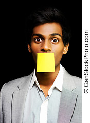 Talkative forgetful office worker silenced by his colleagues...